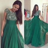 Dark Green Chiffon A-line Prom Dress with Beading, Long Formal Dress at simidress.com