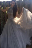 Grey Tulle A-line Halter High Neck Long Prom Dress with Beading,Formal Dress, M164
