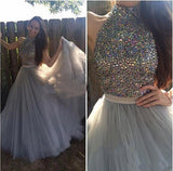 Grey Tulle A-line Halter High Neck Long Prom Dress with Beading,Formal Dress at simidress.com