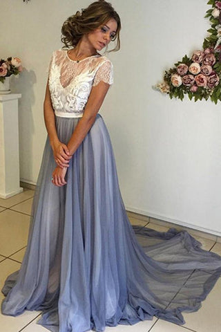 Fabulous Chiffon Scoop Neckline Cap Sleeves Prom Dress with Lace Back, M166