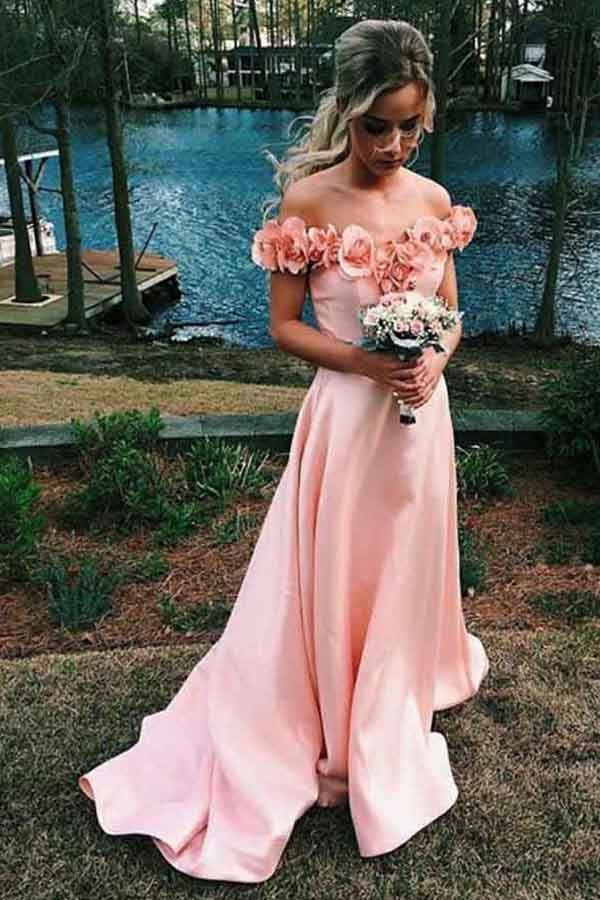Pink Satin Off-the-Shoulder Sweep Train Long Prom Dress with Flowers, M169