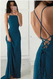 Halter Backless Simple Cheap Chiffon Long Prom Dress with Criss Cross, M174