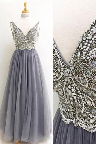 Gray V neck Tulle Floor Length Long Prom Dress With Beading, Formal Dress, M177
