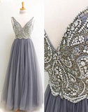 Gray V neck Tulle Floor Length Long Prom Dress With Beading, Formal Dress at simidress.com
