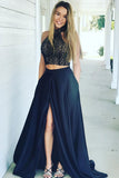Navy Two Piece A-line Lace Bodice Long Prom Dresses with Side Split, M183