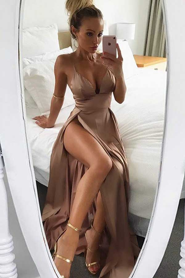 Prom Dress|Brown Satin Thigh-High Slit Deep V Neck