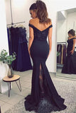 Off Shoulder Mermaid V-neck Prom Dresses with Lace Appliques Evening Gowns at simidress.com
