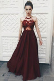 Fantastic Red Halter Burgundy Top Spaghetti Neck Tie V Back Prom Dress, M188