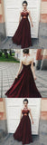 Fantastic Red Halter Burgundy Top Spaghetti Neck Tie V Back Prom Dress at simidress.com