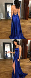 Blue Satin A-Line Backless Split Long Prom Dress with Sweep Train, M189