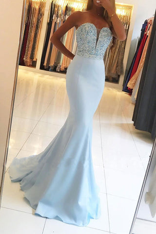 Light Blue Sweetheart Neck Beaded Bodice Mermaid Prom Dresses, M190