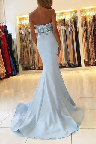 Light Blue Sweetheart Neck Beaded Bodice Mermaid Prom Dresses at simidress.com