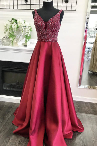 Burgundy Satin A-line V-neck Beaded Bodice Long Prom Dresses, M191