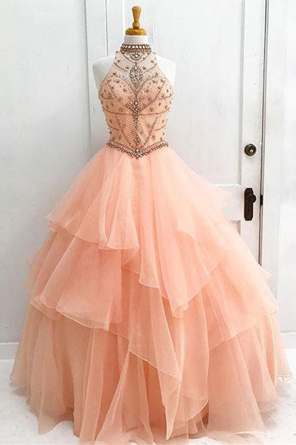 Organza High Neck Beaded Ball Gown Halter Bodice Prom Dress Quinceanera Dress, M194