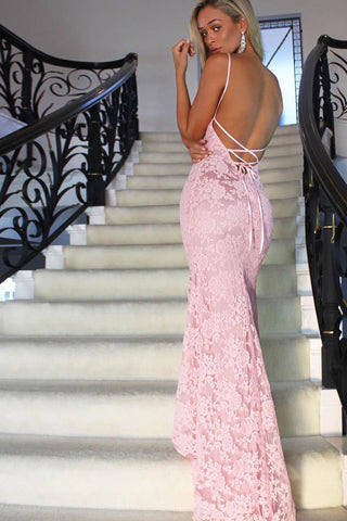 Gorgeous Lace Mermaid Long Prom Dresses, Backless Long Evening Dresses M196