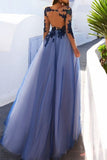 Blue Lace Long Sleeve Open Back See Through Long Evening Prom Dresses from simidress.com
