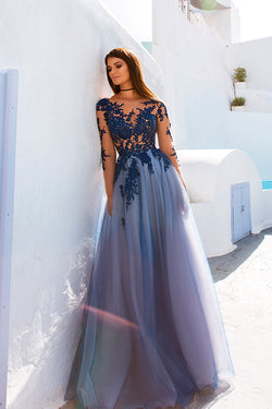 Blue Lace Long Sleeve Open Back See Through Long Evening Prom Dresses, M199