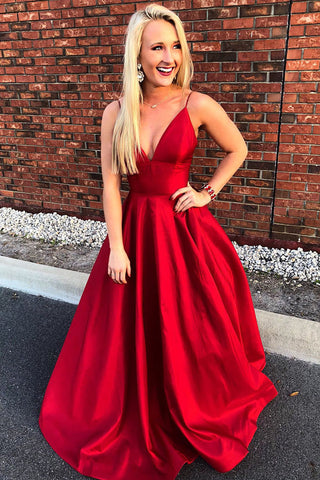 Simple Straps A-line Red Spaghetti Straps V Neck Long Prom Dress, M201