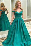 Green Beaded Satin Off the Shoulder Formal Prom Dresses Ball Gowns, M204