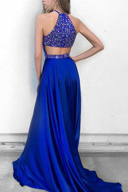 Royal Blue Rhinestone Beaded Satin Halter Formal Shine Prom Dresses, M205