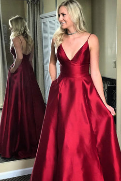 Burgundy Satin Cheap V-neck Formal Spaghetti Strap Long Prom Dresses, M206