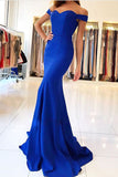Mermaid Royal Blue Long Prom Dresses with Train, Simple Cheap Evening Dresses, M207