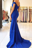 Mermaid Royal Blue Long Prom Dresses with Train, Simple Cheap Evening Dresses at simidress.com