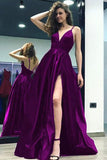 Grape Satin A-line  V-neck Split Backless Long Prom Dress With Straps, M208