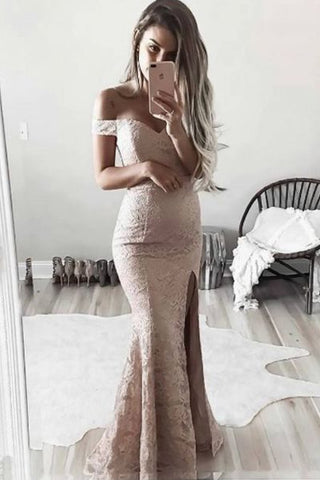 Charming Off Shoulder Cap Sleeve Long Prom Dresses with Side Slit, M211