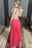 V-neck Red Beaded Open Back A-line Prom Dresses, Formal Dresses at simidress.com