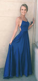 Navy Blue A-line Straps Simple Long Prom Dress, Formal Dress, Party Dress at simidress.com