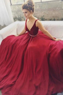 Burgundy A-line V-neck Beaded Long Prom Dresses, Formal Dresses, M221