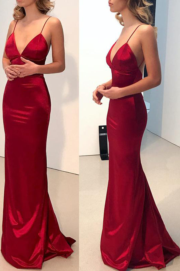 Simple Dark Red Mermaid Backless Long Prom Dresses Formal