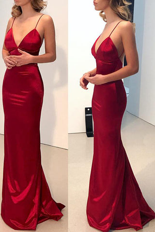 Simple Dark Red Mermaid Backless Long Prom Dresses, Formal Dress, M238