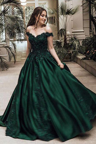 Ball Gown Off Shoulder Sleeveless Floor-Length Lace Satin Long Prom Dresses, M241