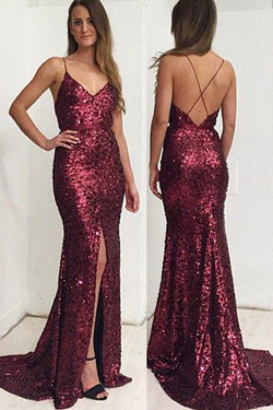 Gorgeous Sequin Lace Spaghetti Straps Neckline Long Prom Dress with Sweep Train, M246