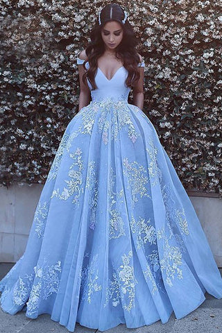 Tulle Ball Gown Sleeveless Off Shoulder Applique Sweep Train Prom Dress, M248