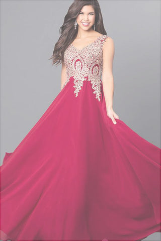 Gorgeous Cheap Lace V-Neck Long Prom Dress with Beaded Appliques, M248