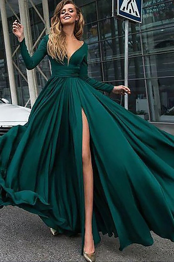 Dark Green A-Line V-Neck Long Sleeves Sweep Train Long Prom Dress, M250