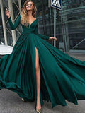 Dark Green A-Line V-Neck Long Sleeves Sweep Train Long Prom Dress from simidress.com