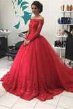 Red Ball Gown Off Shoulder Lace Tulle Long Sleeves Sweep Train Prom Dress, M252