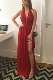 Red Chiffon V-Neck Side Slit Long Prom Dress, Evening Dress, Formal Dress, M254