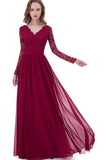 Burgundy Open Back A-line Lace V-neck Chiffon Long Bridesmaid Dresses, BD73