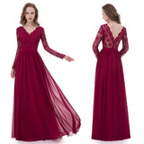 Burgundy Open Back A-line Lace V-neck Chiffon Long Bridesmaid Dresses from simidress.com