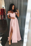 Simple Pink A line Floor Length Cold Shoulders Long Prom Dress with Slit, M256