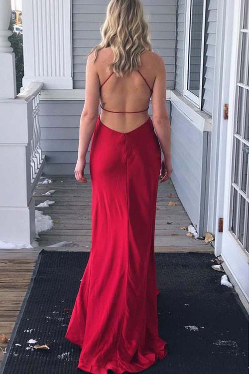 Simple Red Satin Sheath Spaghetti Straps Long Prom Dress with Side Split from simidress.com