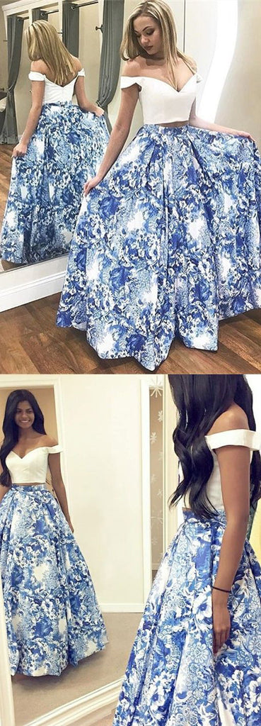 Blue Floral Satin Two Piece Off-the-Shoulder Long Prom Dress, Party Dress from simidress.com