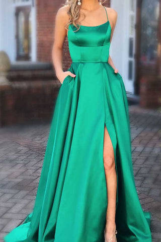Green Long Prom Dresses with Pocket Long Backless Slit Formal Ball Gowns Evening Dress, M266