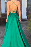 Green Long Prom Dresses with Pocket Long Backless Slit Formal Ball Gowns Evening Dress from simidress.com