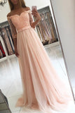 Pink Half Sleeves Tulle A-line Floor-length Off Shoulder Lace Prom Dress with Appliques, M267